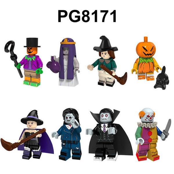 8pcs / lot de Halloween Minifig bruja de la calabaza del payaso del vampiro Figuras Juegos de construcción Building Blocks Juguetes para niños Ladrillos regalos para los niños