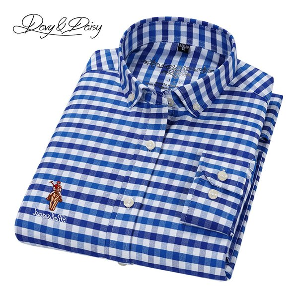 davydaisy 2019 new spring 100% cotton oxford men shirts causal plaid slim fit male dress formal male camiseta masculina ds286, White;black