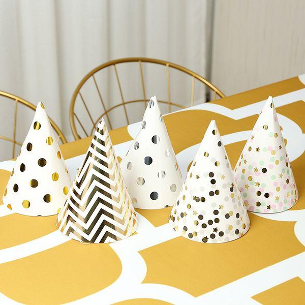 Decoraciones para fiestas Suministros de sombreros de cumpleaños DIY Festival de bronceado lindo Papel Tapa Dot Tira plegable Color metálico 4 5sc Ww