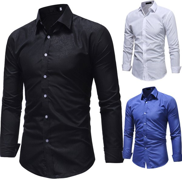 Brand New Personalized Pattern Print Dress Shirts Long Sleeve Slim Casual Blouses Fashion Social Camisas Chemise Homme