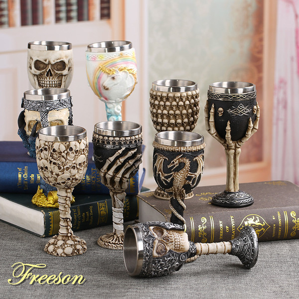 Coolest Gothic Resin Stainless Steel Dragon Skull Goblet Retro Claw Wine Glass Cocktail Glasses Whiskey Cup Party Bar Drinkware Q190606