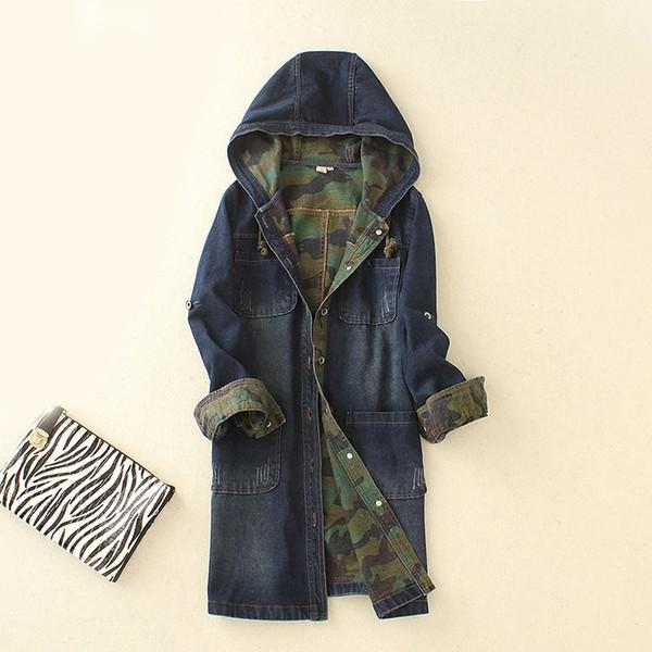 Veste en Denim à Capuche Longue Camouflage Camouflage Haute Qualité Femmes Veste en Denim Spell Couleur Manteau