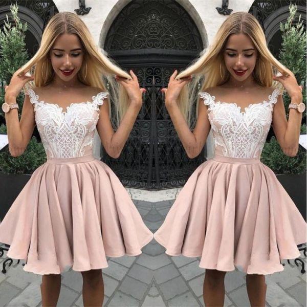 Довольно рукавов кружева Homecoming платья аппликация A-Line 2019 короткие платья партии шампанское короткие мини темперамент сладкий дизайн бальное платье