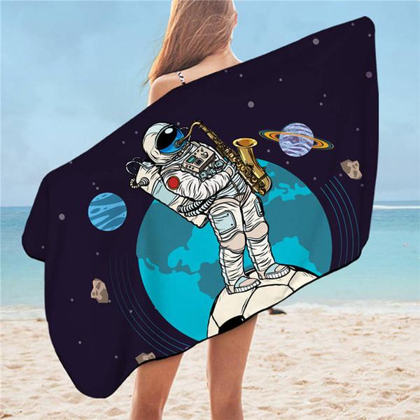 Astronauta tovagliolo di bagno per il bagno Spazio Pianeta Microfiber Football Beach Mat bambini Asciugamano Terra Coperta 75x150