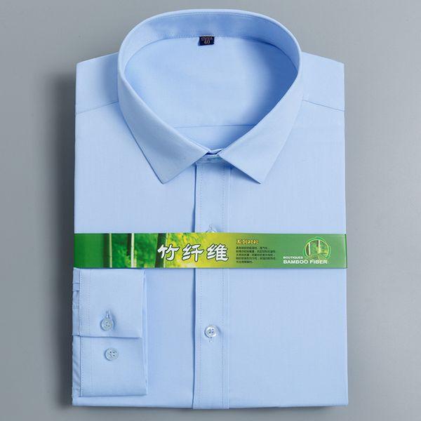 Excellente fibre de bambou lisse slim fit à manches longues col carré hommes affaires chemises formelles sans poche avant