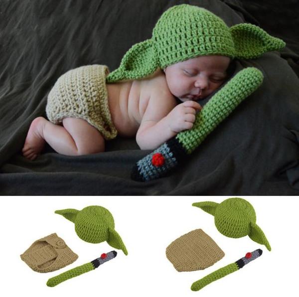 Hot Crochet Baby Yoda Hat Beanie Newborn Boy Cartoon Costume Fotografia Puntelli Christmas Outfits Accessori fotografia infantile
