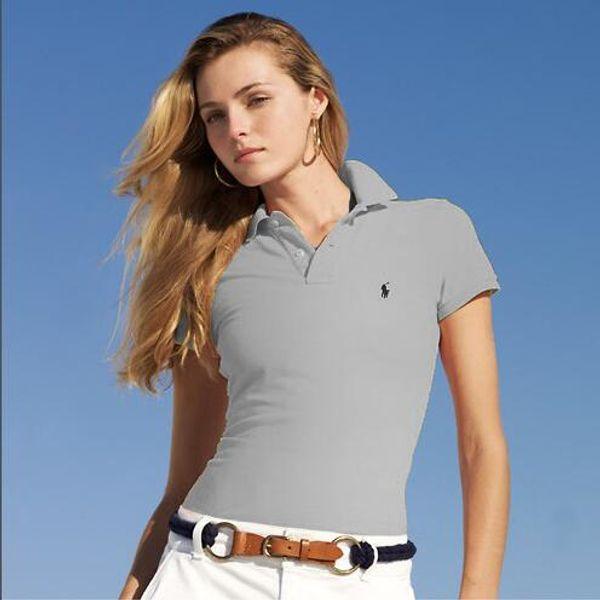 2019 summer lapel polo shirt women's brand top T-shirt women's designer luxury short-sleeved T-shirt vintage embroidery golf polo shirt