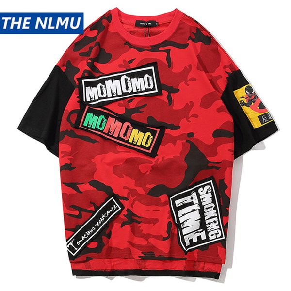 Hip Hop Camouflage T-shirts Men Streetwear tshirt Patchwork Short Sleeve 2019 Summer Spring Casual Military Tops Tees Male HS39