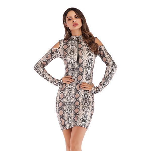 Compre Modelos De Explosão De Vestido Das Mulheres Moda Leopardo Magro Saco Hip Strapless Manga Longa Vestido Com Duas Cores S 2xl Disponíveis De
