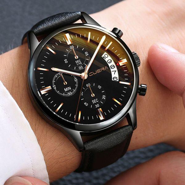 Fashion Men Watches Men's Date Leather Sport Quartz Noctilucent Wrist Watch Stainless Steel Bracelet Wrist Watch Erkek Kol Saati