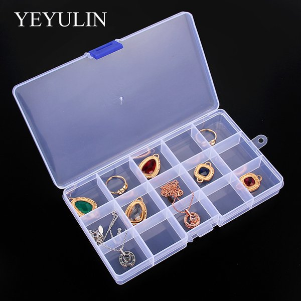 15 Slot Jewelry Rectangle Display Storage Charms beads Organizer Case Box 1pcs
