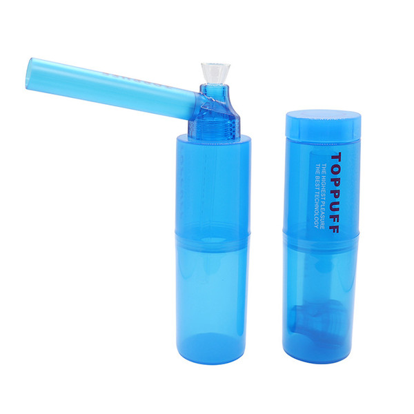 Portable Top Puff Toppuff Water Pipe Tobacco Bong Pipe Plastic Traveling Suite Tobacco Herb Holder Water Hookah Hot Sale
