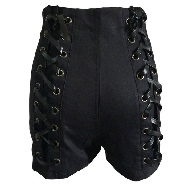 Women Elastic High Waist Short Pants Ladies casual double Denim Bandage Sexy shorts Jeans with Coated Lace Zippers Spliced Pants