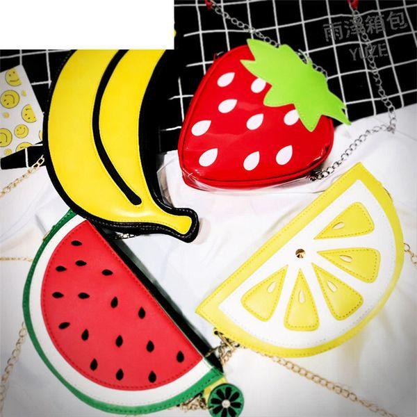 good quality Summer Women Bag 2019 New Funny 3d Flap Fruit Bag Shoulder Cross Body Cartoon Chain Bags Phone Bag For Female Ladies Girl