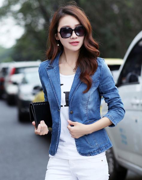 2019 conception courte femme Blue Denim Blazer, plus la taille Slim One Button jeans Vestes printemps et automne survêtement manteau 022601
