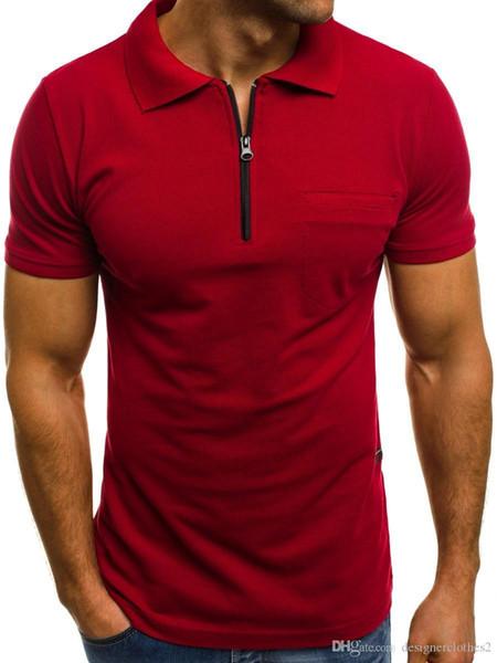 Manga para hombre clásico Polos de diseño sólido ocasional corta camisetas collar del soporte de verano para hombre Quick ropa seca