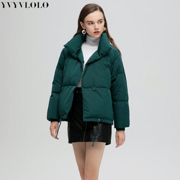 YVYVLOLO Otoño Invierno Parka Abrigo de mujer 2019 Mujer Chaqueta de invierno Mujer Parkas Cálido Casual Tallas grandes Abrigo grueso suelto MX190907