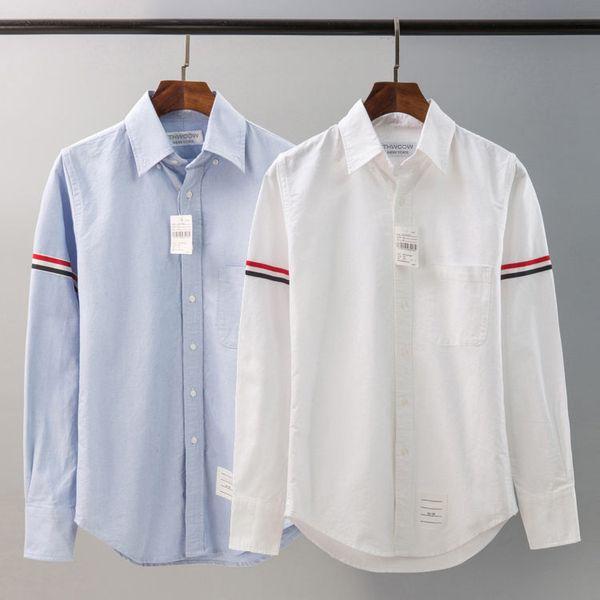 2019 Primavera verano 100% algodón rwb brazalete de grosgrain Grosgrain Placket oxford / Popelina camisa hombres y mujeres