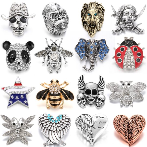 Wholesale DIY Big Button 18mm Metal Snap Buttons Jewelry Bee Ladybug Noosa Snap Jewelry Charm Chunk For 18mm Snap Bracelet Jewelry