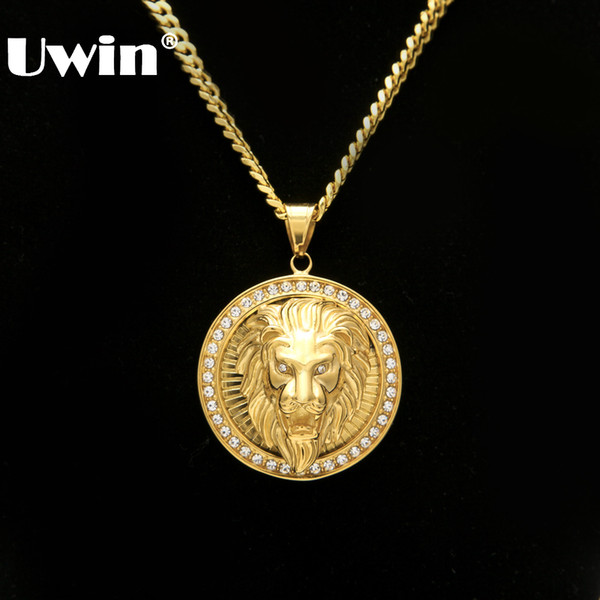Mens Hip Hop Jewelry Iced Out Gold Color Fashion Bling Bling Lion Head Pendant Men Necklace Gold Color For Gift/present MX190730