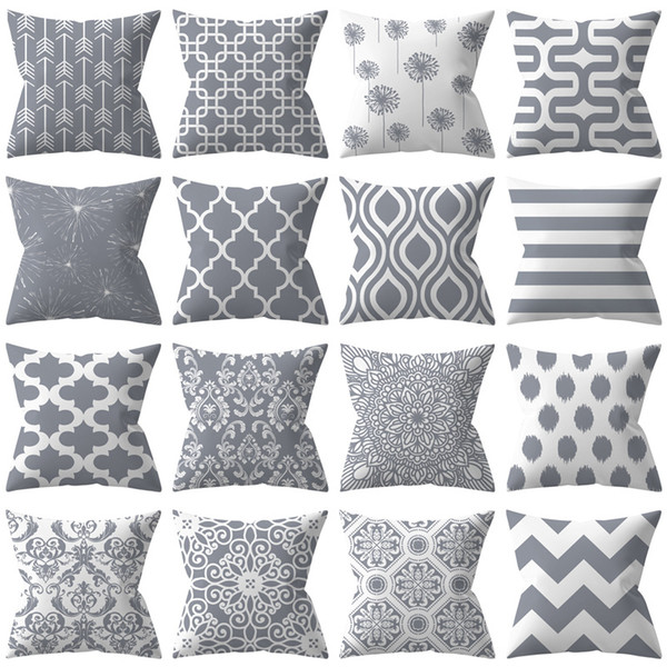 Grey Geometry Polyester Pillow Set Best Selling Silver Sofa Pillow Case  Cushion Set Factory Wholesale Blue Pillow Cases 22x22 Pillow Covers From ...