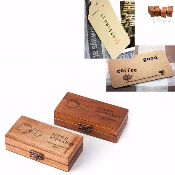 Creative Wooden seal uppercase Alphabet Letters Rubber Stamps Set Vintage