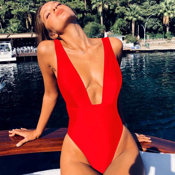 2019 Sıcak Satış Yaz Mayo 6 Renkler Derin V Tek Parça Mayo Yüksek Yarık Bikini Sekst Backless Plaj Kıyafeti