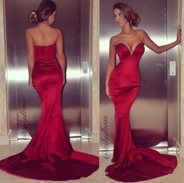 Sexy Tight Fitted Red Mermaid Prom Dresses 2019 New Arrival Plus Size Sweep Train Simple Style Evening Occasion Gowns Cheap Under$90