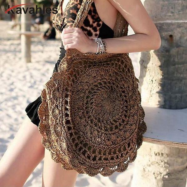 Designer 2019 Bohemian Straw Bags for Women Big Circle Beach Handbags Summer Vintage Rattan Bag Handmade Kintted Travel Bags LW-76
