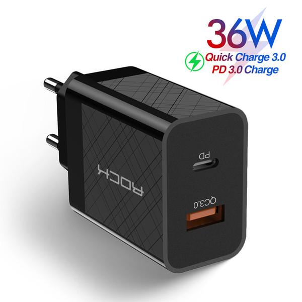 Caricabatterie 36W Quick Charge PD QC 3.0 FCP Dual USB per iPhone 11 Pro XS X 8 più veloce di ricarica a muro caricabatterie da viaggio per il computer portatile di chip intelligente