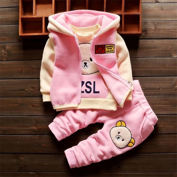 good qulaity baby girls winter clothing set casual cartoon 3pcs tracksuit set infant children hooded fashion outfits bebe clothes