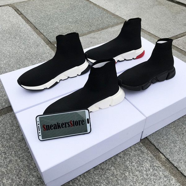 With Box 2019 New Designer Speed Runner Socks Shoes Fashion Top Quality Triple Black Oreo Red Flat Trainer Men Women Casual Shoes Sport