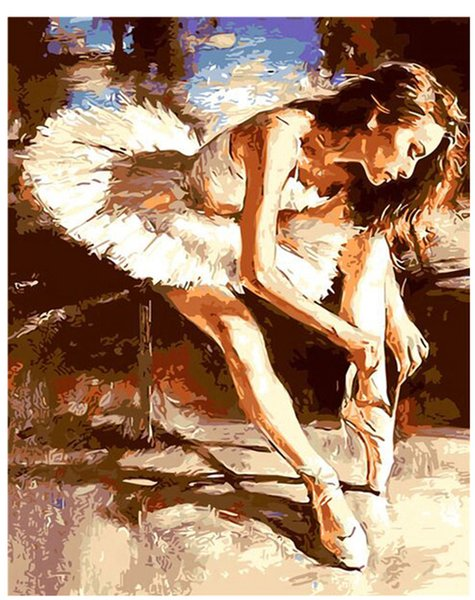 "best selling Oil Paint DIY Painting By Numbers Adult Hand Painted Kits Paint-Ballet dancers 16""x20"""