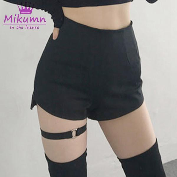 2019 Summer Women Skinny Shorts Chic Ring Garter High Waist Black Gothic Girls Shorts Harness Thigh Belt Sexy Punk XS-XL