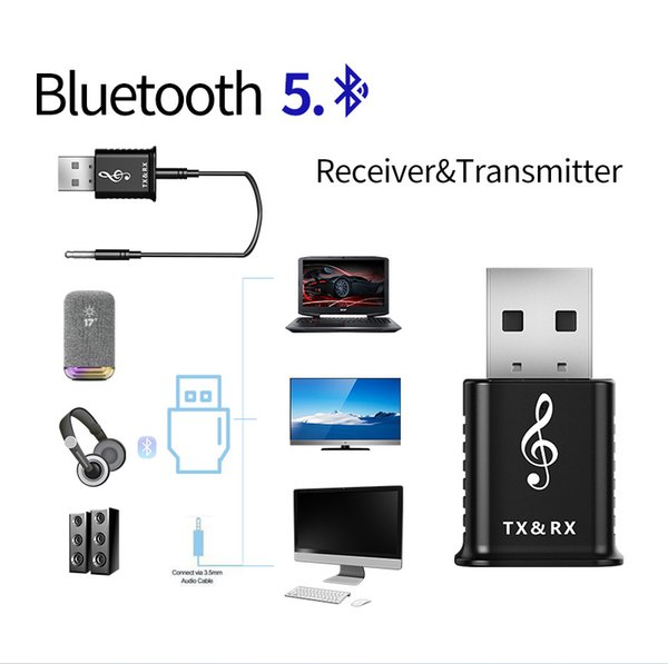 Bluetooth 5.0 Transmitter and Receiver 2-in-1 Wireless 3.5mm Adapter Devices Simultaneously, For TV/Home Sound System