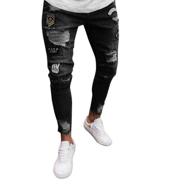 New Four Colors Men Slim Biker Zipper Denim Jeans Skinny Frayed Pants Distressed Rip Trousers Fashion Ripped Jeans For Men 5