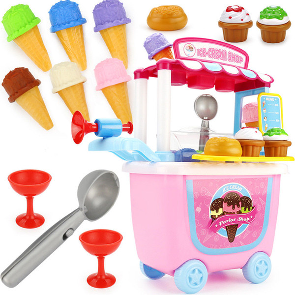 31pcs Children Simulation Kitchen Toys Tableware Tools Ice Cream Candy Set Play House Toy Trolley Kids Pretend Play Pink Toys