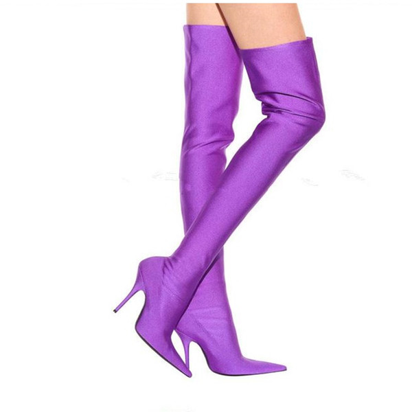 Purple Thigh High Boots Candy Color Over The Knee Shoes Women Sexy Thin High Heel Pointed Toe