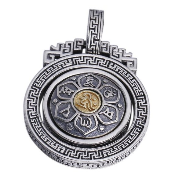 925 sterling silver jewelry men and women six-word mantra turn religious lucky pendant (FGL)