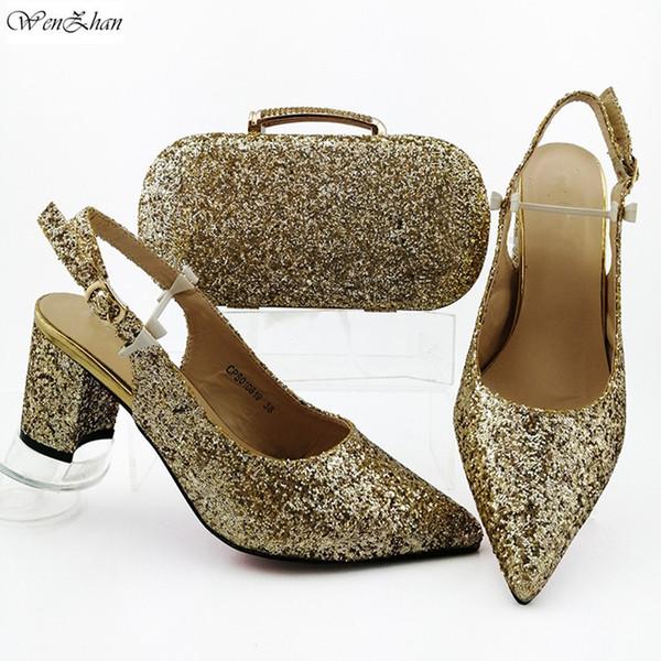 Los últimos Italian Shoes africanos y Sets bolsa para el partido de tarde con brillo del oro en Piel Zapatos Bolsos partido! B910-12