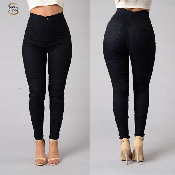 Vente chaude Jeans Denim Pantalons Skinny taille haute stretch femme Jeans Slim Crayon Pantalons drop shipping