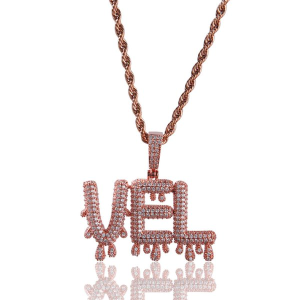 Hip Hop Jewelry Iced Out Pendants Mens Gold Necklace Bling Cubic Zirconia Custom Name Necklaces Brand Designer Jewellry