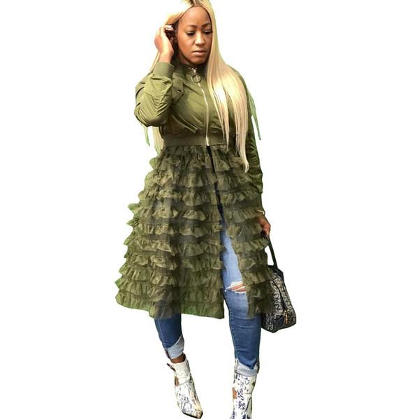 Plus Size Green Bomber Jacket Femme Automne Hiver Streetwear coréenne Harajuku Veste en couches maille à volants noire Manteau Outwear MX191031