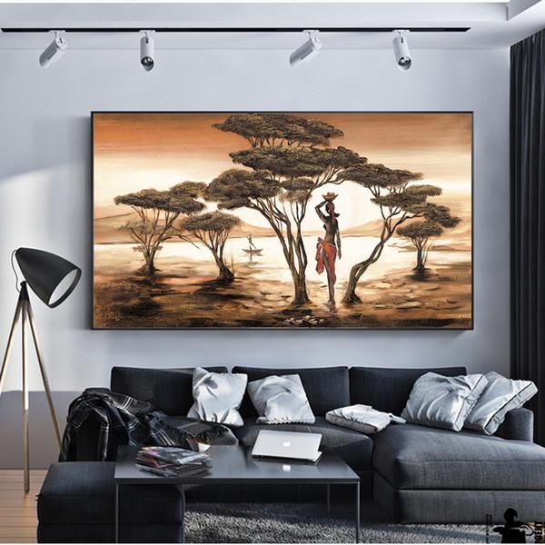 Peintures De Femme Africaine Sur Le Mur Classique Coucher Du Soleil Paysage Mur Art Impressions Sur Toile Et Affiches Cuadros Photos Home Decor