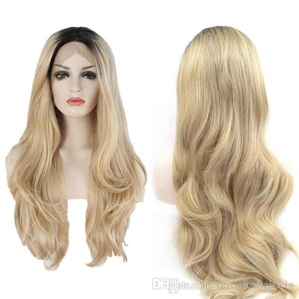 Free Shipping 24inch Black to Blonde Long Wavy Ombre Wig Cheap Synthetic Lace Front Wigs For Woman High Temperature Fiber Middle Part