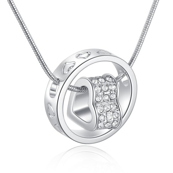 JS N025 Heart Pendant Necklace Best Seller Silver And 18K Gold Jewlery Nickel Free Rhinestone Fashion Neckless For Women