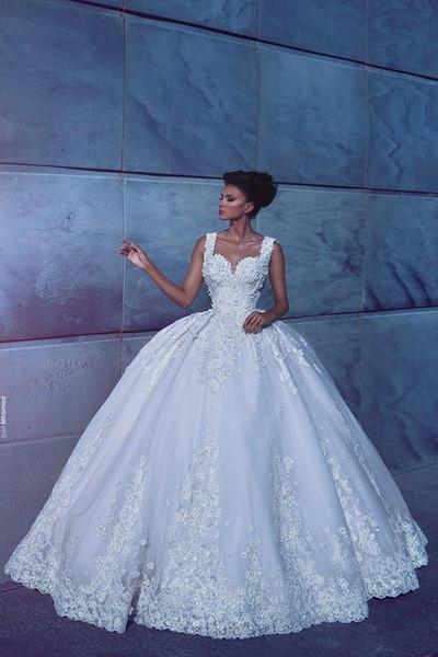 Vestidos de novia de novia vestidos de novia de encaje árabe apliques de encaje por encargo vestidos de boda de la cremallera Volver tren de barrido vestido nupcial magnífico