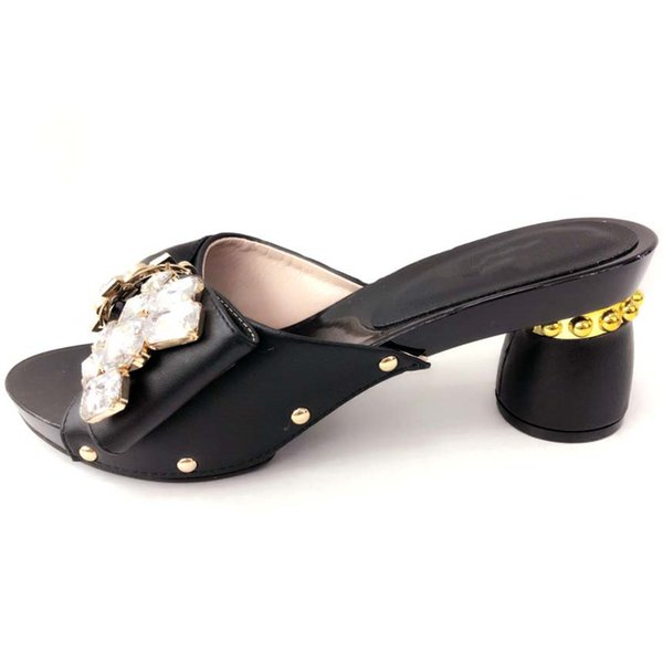 Black heels, italian-designed solid color African ladies heels with bows, shoes for wedding parties...heel 8.5cm.A-2019514-987-2