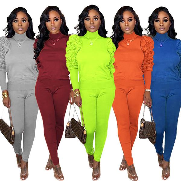 Mulheres sólida definir roupas de inverno queda plissado 2 pedaço correr moletom calças sportswear pullover leggings outfits hoodies bodysuits 1970