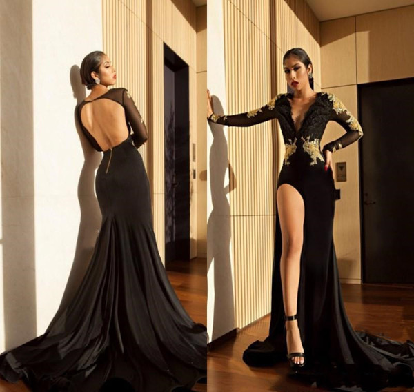 2019 Sexy Open Back Mermaid Prom Dress Long Black High Side Slit Long Sleeves Formal Pageant Holidays Wear Graduation Evening Party Gowns